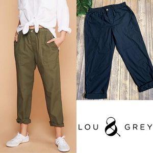 LOU & GREY Navy Blue Poplin Pants